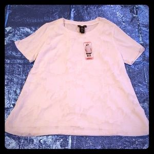 White, lace front blouse,  sz. Small